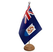ANGUILLA - TABLE FLAG WITH WOODEN BASE